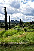 DESIGNER ALAIN DAVID IDOUX - MAS BENOIT  PROVENCE  FRANCE. VIEW TO MOUNTAINS WITH GRASSES AND CLIPPED CYPRESS TREES IN THE FOREGROUND.
