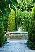 DESIGNER MICHEL SEMINI  PROVENCE  FRANCE. COURTYARD WITH BUBBLE FOUNTAIN WATER FEATURE
