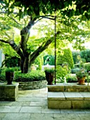DESIGNER MICHEL SEMINI  PROVENCE  FRANCE. COURTYARD WITH VIEW TO BUBBLE FOUNTAIN POOL