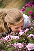 GIRL (AGED 15) SMELLING FLOWERS IN A CONTAINER. HAZEL NICHOLS