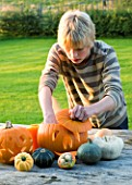 HALLOWEEN: BOY (AGED 13) PUTS CANDLE INSIDE A PUMPKIN - STILL LIFE ON OUTDOOR WOODEN TABLE WITH PUMPKINS  SQUASHES AND GOURDS