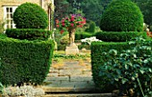 VIEW THROUGH YEW TOPIARY HEDGES WITH STEPS UP TO TERRACE WITH TALL CONTAINER OF TRAILING PELARGONIUMS. LITTLE BOWDEN  BERKSHIRE.