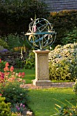 DAVID HARBER SUNDIALS: BRONZE ARMILLARY SPHERE SUNDIAL ON A STONE PLINTH AT PETTIFERS  OXFORDSHIRE