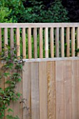 DESIGNER: CHARLOTTE ROWE  LONDON: DETAIL OF WOODEN/TIMBER FENCE AND TRELLIS