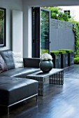 TANIA LAURIE  LONDON. CONTEMPORARY LIVING AREA WITH GREY LEATHER SOFA  VASE AND COFFEE TABLE  LEADING OUT TO PATIO AND GARDEN DESIGNED BY CHARLOTTE ROWE
