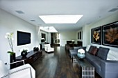 TANIA LAURIE  LONDON. INTERIOR OF LIVING / DINING AREA WITH ROOFLIGHT  WOODEN FLOOR AND CONTEMPORARY FURNITURE