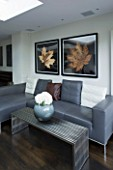 TANIA LAURIE  LONDON. CONTEMPORARY LIVING AREA WITH GREY LEATHER SOFA  METAL COFFEE TABLE WITH MODERN VASE AND LEAF PRINTS ON WALL