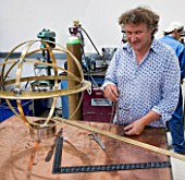 DAVID HARBER SUNDIALS:  A WORK IN PROGRESS: DAVID HARBER AND ARMILLARY SPHERE IN HIS WORKSHOP