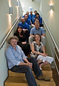 DAVID HARBER SUNDIALS: THE TEAM PHOTOGRAPHED ON THE STAIRS