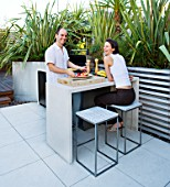 CONTEMPORARY FORMAL ROOF TERRACE/ GARDEN DESIGNED BY DATA NATURE ASSOCIATES: NICK LEITH-SMITH AND KRISTINA HULSEBUS HAVING A BARBEQUE