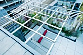 CONTEMPORARY FORMAL ROOF TERRACE/ GARDEN DESIGNED BY DATA NATURE ASSOCIATES: VIEW DOWN OVER TRELLIS PERGOLA TO SEATING AREA WITH SUN LOUNGERS AND CUSHIONS