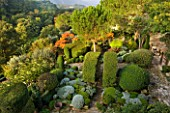 PROVENCE  FRANCE: GARDEN OF NICOLE DE VESIAN  LA LOUVE: VIEW FROM HOUSE TO TERRACE WITH CLIPPED TOPIARY  SANTOLINA AND STAGS HORN SUMACH (RHUS TYPHINA) WITH COUNTRYSIDE BEYOND