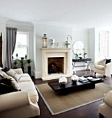 CHRISTMAS - LIVING ROOM WITH CREAM FIREPLACE  WOODEN COFFEE TABLE  SILVER GLOBES  TRIPOD LAMP  CREAM SOFAS  CUSHIONS AND WALL PRINT. SARAH EASTEL LOCATIONS/ DI ABLEWHITE