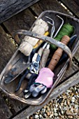 DESIGNER CLARE MATTHEWS: POTAGER PROJECT -TOOLS IN A WOODEN TRUG