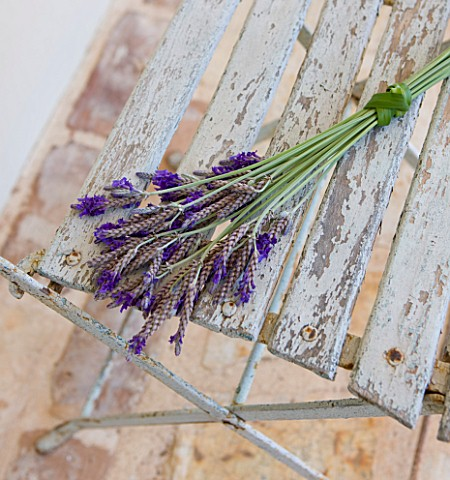 PRIVATE_VILLA__CORFU__GREECE_DESIGN_BY_ALITHEA_JOHNS__HANDTIED_LAVENDER_ARRANGEMENT_ON_OLD_CHAIR