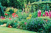 COTTAGE GARDEN: THE HERBACEOUS BORDER AT GREENHURST GARDEN  SUSSEX  WITH POPPIES  LUPINS AND CENTAUREA MONTANA