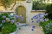 THE ROU ESTATE  CORFU  GREECE: DESIGNER: DOMINIC SKINNER - MEDITTERANEAN STYLE GARDEN - GRAVEL PATH AND AGAPANTHUS WITH GREEN DOOR