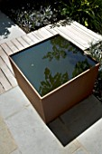 DESIGNERS WYNNIAT- HUSEY CLARKE: MODERN  CONTEMPORARY TOWN GARDEN IN BRIGHTON - SQUARE METAL WATER FEATURE WITH SHADOW/ REFLECTION OF ARALIA  WOODEN PANEL WALLS AND ORANGE PANEL