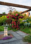 MEADOW FARM  WORCESTERSHIRE: SUNDIAL ARBOUR WITH ROSA SUPER EXCELSA