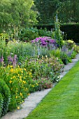 MEADOW FARM  WORCESTERSHIRE: THE LONG BORDER - SOUTH SIDE WITH PURPLE/YELLOW THEMED PERENNIAL PLANTING
