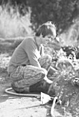 DOMAINE DU RAYOL  FRANCE: BLACK AND WHITE PHOTOGRAPH OF THE HEAD GARDENER  STAN