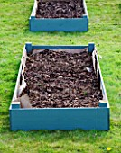 DESIGNER CLARE MATTHEWS: FRUIT GARDEN PROJECT - DEEP MULCHED RAISED BED - WELL ROTTED MANURE ADDED TO BED