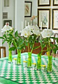 DESIGNER BUTTER WAKEFIELD  LONDON: THE KITCHEN WITH LINE OF GREEN VASES WITH WHITE PEONIES FROM COVENT GARDEN ACROSS TABLE WHICH WAS PAINTED BY BUTTER S MOTHER IN LAW
