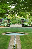 DESIGNER ALISON HENRY - PRIVATE GARDEN, COTSWOLDS: LAWN AND RILL TO FORMAL ROUND POND / POOL - LAWN, STONE PIERS WITH URNS, CONTAINERS, FORMAL, WATER, CLASSIC,  ENGLISH,  GARDEN
