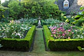 DESIGNER ALISON HENRY - PRIVATE GARDEN, COTSWOLDS: BOX EDGED BEDS WITH ROSES AND SUNDIAL  - ROSE GARDEN,  ENGLISH GARDEN, CLASSIC, COUNTRY