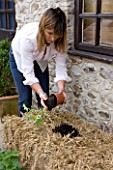DESIGNER CLARE MATTHEWS - GROWING STRAWBERRIES AND NASTURTIUMS IN A STRAW BALE: ADD A HANDFUL OF MULTI-PURPOSE COMPOST TO EACH HOLE