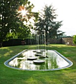 WHATLEY MANOR  WILTSHIRE: THE LOGGIA GARDEN WITH POOL AND WATER FEATURE/ SCULPTURE BY SIMON ALLISON