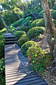 ARGENTARIO GARDEN  ITALY - DESIGNER: PAOLO PEJRONE - BLACK WOODEN WALKWAYS THROUGH WOODLAND