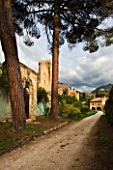 NINFA GARDEN, GIARDINI DI NINFA, ITALY: PATH WITH PINES AND TOWER. OLD BUILDING, RUIN, STONE, ITALIAN GARDEN