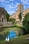 NINFA GARDEN, GIARDINI DI NINFA, ITALY: LARGE POOL / POND WITHIN THE CASTLE WALLS WITH THE TOWER. MEDITERRANEAN GARDEN