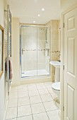 MODERN TOILET AND SHOWER ROOM IN CREAM