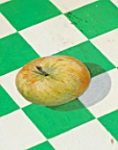 DESIGNER BUTTER WAKEFIELD  LONDON - THE KITCHEN TABLE OF GREEN AND WHITE SQUARES WITH AN APPLE MADE BY BUTTERS MOTHER-IN-LAW - FELICITY WAKEFIELD