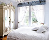 DESIGNER: JACKY HOBBS  LONDON: BEDROOM WITH WHITE BED LINEN AND MIRROR FRONTED WARDROBE
