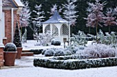 FORMAL TOWN GARDEN IN SNOW  OXFORD  WINTER: DESIGN BY LIZ NICHOLSON - ARBOUR/ GAZEBO  HOUSE AND BOX HEGDING