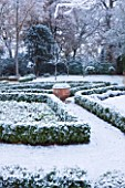 FORMAL TOWN GARDEN IN SNOW  OXFORD  WINTER: DESIGN BY LIZ NICHOLSON - BOX HEDGING