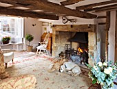 DESIGNER CAROLYN MINTY  GLOUCESTERSHIRE - THE SITTING ROOM WITH THE TWO DOGS  TOPSY AND TULA  FIREPLACE