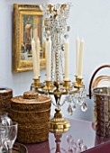 DESIGNER JANE CHURCHILL : DRINKS TABLE IN THE CONSERVATORY  WITH 19TH CENTURY ORMOLU CANDLESTICK