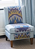 DESIGNER JANE CHURCHILL : CHAIR IN DRAWING ROOM UPHOLSTERED WITH IKAT FABRIC FROM ISTANBUL