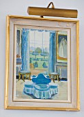 DESIGNER JANE CHURCHILL : PAINTING IN DRAWING ROOM BY ALICE WYNNE  GRANDMOTHER OF JANE CHURCHILL
