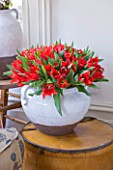 DESIGNER: KALLY ELLIS  LONDON: GLAZED EARTHENWARE POT HOLD BOUQUET OF ALADDIN TULIPS IN MAIN BEDROOM