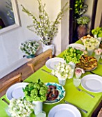 DESIGNER: KALLY ELLIS  LONDON: KITCHEN TABLE LAID FOR LUNCH WITH PALE GREEN VIBURNUM HEADS AND WHITE SWEET PEAS