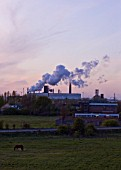 TEESSIDE  UNITED KINGDOM - AIR POLLUTION FROM FACTORY AT SUNSET - INDUSTRY  OIL INDUSTRY  INDUSTRIAL  HEAVY INDUSTRY