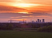 TEESSIDE  UNITED KINGDOM - THE MIDDLESBROUGH TRANSPORTER BRIDGE  TEES TRANSPORTER BRIDGE AT SUNSET -  INDUSTRY  INDUSTRIAL  HEAVY INDUSTRY