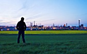 TEESSIDE  UNITED KINGDOM - BOY WITH HOODIE LOOKING AT PETROCHEMICAL WORKS AT DUSK SEEN FROM FIELD OF RAPESEED - INDUSTRY  OIL INDUSTRY  INDUSTRIAL  HEAVY INDUSTRY