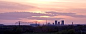 TEESSIDE  UNITED KINGDOM - PETROCHEMICAL WORKS AT DUSK SEEN FROM FIELD OF RAPESEED - INDUSTRY  OIL INDUSTRY  INDUSTRIAL  HEAVY INDUSTRY