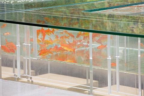 CHELSEA_2011__B__Q_GARDEN_BY_LAURIE_CHETWOOD_AND_PATRICK_COLLINS__TABLE_WITH_FISH_TANK_AND_GOLDFISH